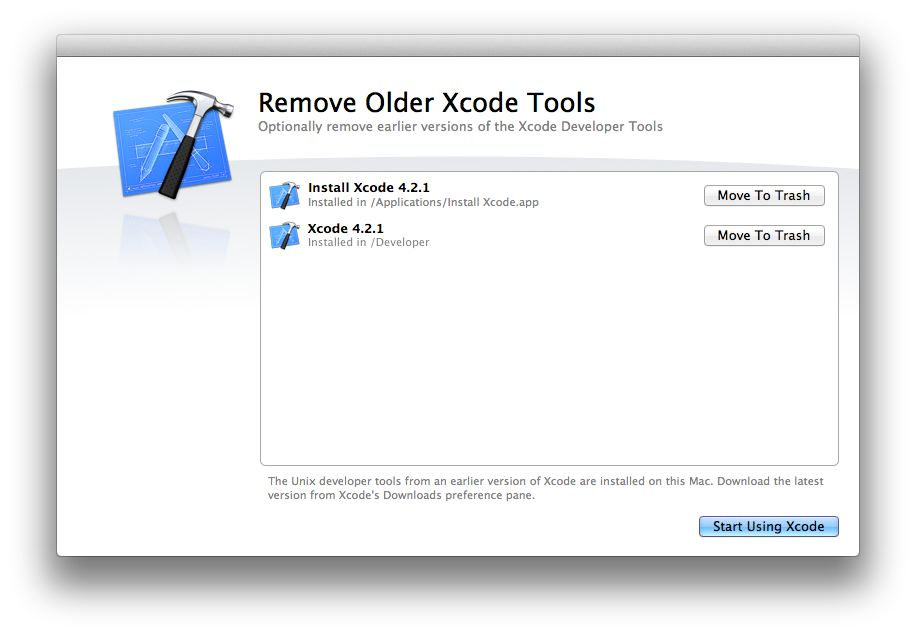 Xcode move to Trash